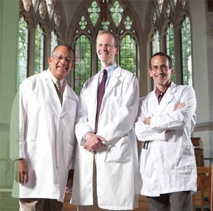 Doctors at the Divinity School: Richard Payne, Warren Kinghorn, and Raymond Barfield.