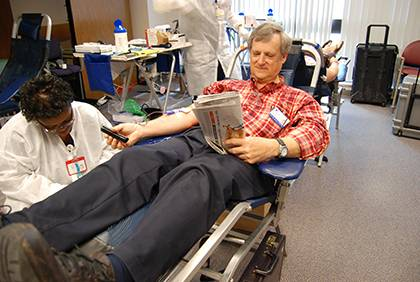 Duke employees have the chance donate blood and potentially save a life. Duke Hospital will host a blood drive on Aug. 27, with three more at Duke in September. Photo by Marsha A. Green.