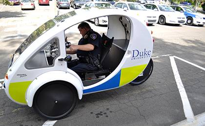 Duke Police Cpl. Walter Crevoiserat drives the Tactical ELF, the newest addition to the campus police department's fleet. Photo by April Dudash