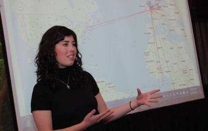 Emma Ross used computerized mapping technology to explore the interaction of British colonists and natives in 19th century Tahiti.  Photo by Doug Hayes
