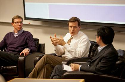 Warren Grill, Thomas Nechyba and Shengtan Tang lead a discussion on the changing structure of the university Thursday.  Photo by Megan Morr/Duke University Photography