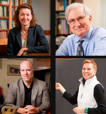 2013 faculty winners of the Graduate School Dean's Award for Excellence in Mentoring and Teaching.  Clockwise from top left: Laura Edwards, Frank Sloan, Robyn Wiegman and Cameron R. Bass