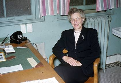 Julia Grout served as chair of the Women's Department of Health and Physical Education at Duke from 1924 to 1964. Pictured here in April 1952, she'll be one of the prominent Duke women added to Wikipedia during next week's Edit-a-thon. Photo courtesy