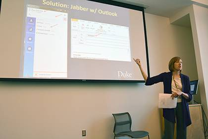 Emily Daly, head of assessment and user experience at Duke University Libraries, shares WebEx and Jabber tips during a