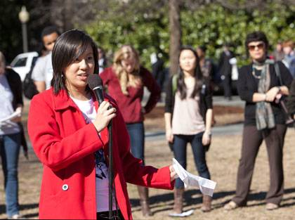 Ting-Ting Zhou, a Duke student, speaks during Race Is Not a Party rally Wednesday.  Photo by Megan Morr/Duke University Photography