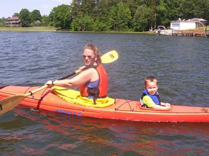 Susan Semonite Waters kayaks with her son, Connor, on Badin Lake. Photo courtesy of Susan Semonite Waters.