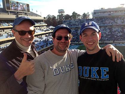 Karl Bates, left, regularly joins Keith Lawrence, middle, and his son, Eric, at Duke football games. They made the trip to Chapel Hill last weekend to see Duke beat the Tar Heels and capture the ACC Coastal Division crown. Photo courtesy of Keith Lawrenc