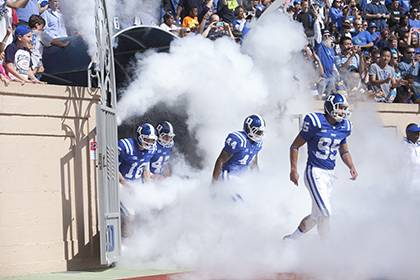 Faculty and staff can request up to four free tickets to see the Blue Devils face Elon University as part of Duke's Employee Kickoff Celebration. Photo by Duke Photography.