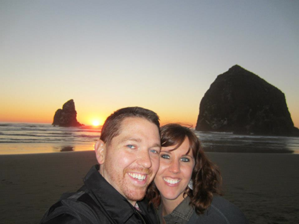 """Kyle Fox and his wife, Valerie, pose at Cannon Beach in Oregon. Kyle is a huge fan of the movie """"The Goonies"""" and visited locations in Oregon where the 1985 film was shot. Photo courtesy of Kyle Fox."""