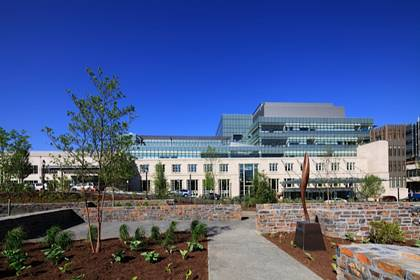 Highlights of the Cancer Center's LEED certification include lots of natural lighting and open, green spaces. Photo courtesy of Duke Medicine.