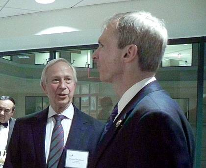 President Richard H. Brodhead talks with Rep. Dan Lipinski (D-IL, Ph.D. '98) at the Duke in Washington offices.