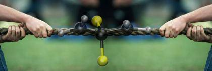 An artistic depiction of molecular tug-of-war. Image courtesy of Steve Craig, Duke.