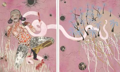 Trever Schoonmaker of the Nasher Museum edits a study of the work of artist Wangechi Mutu.