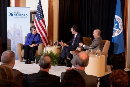 Janet Napolitano discusses national security and immigration with David Schanzer, middle, and Noah Pickus Thursday night.  Photo by Les Todd