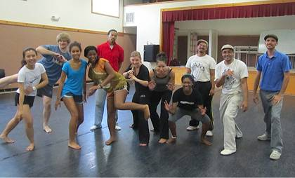 T.J. Desch-Obi leading Dance Program students in a master class on Capoeira Angola at Duke on Sept. 25.