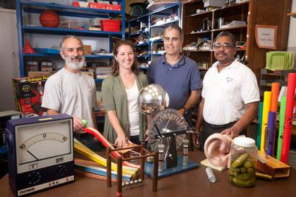 Physics faculty are in demand in area schools: From left, Ronen Plesser,  Kristine Callan, Derek Leadbetter and Calvin Howell