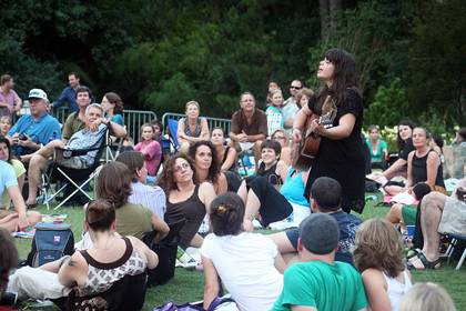 Samantha Crain performs in Duke Gardens in 2010.  Photo by Kevin Norris