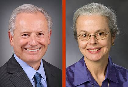Presidential Search Committee Chair and Vice Chair Jack Bovender and Ellen Davis