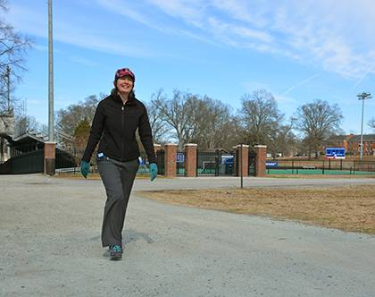 Rachel Lundberg has used the Get Moving Challenge as a reason to go for a walk at East Campus during her lunch breaks. Photo by Bryan Roth.