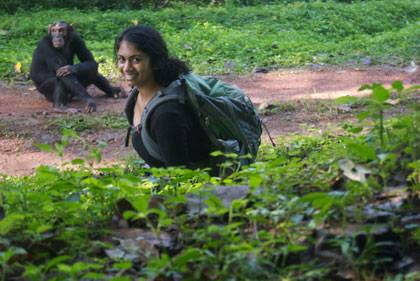 Rachna Reddy and a primate acquaintance in Uganda.