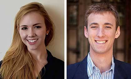 2015 Rhodes Scholar Recipients Laura Roberts and Jay Ruckelshaus. Ruckelshaus photo by Garrett Harmsen