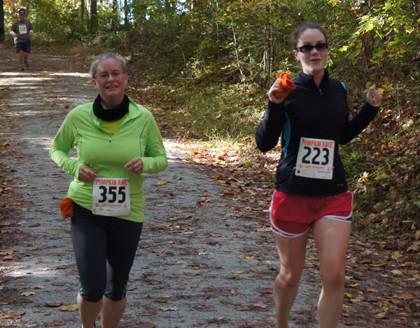 Beth Doyle, left, used Duke's Run/Walk Club to prepare for her first 5K. She ran Duke's Pumpkin Fun Run in November 2011. Photo courtesy of LIVE FOR LIFE.
