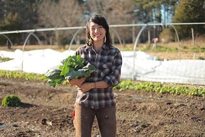 Saskia Cornes is the new program coordinator and farm manager for the Duke Campus Farm. Photo courtesy of Duke Campus Farm.