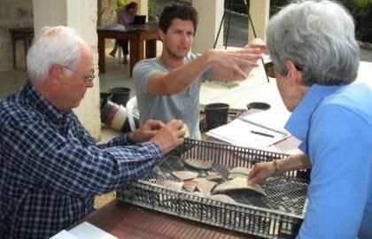 Professors Eric (right) and Carol (left) Meyers examine pottery shards | Photo from David Hendin's Sepphoris 2011 Excavation Blog