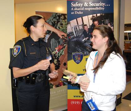 Lt. Shannan Tiffin disusses safety tips with a first-year student during last year's