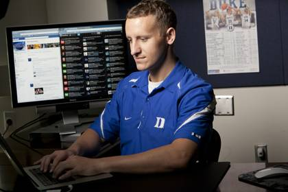 Dave Bradley, Duke basketball's recruiting/communications coordinator, uses Twitter, YouTube and other channels to engage fans. Photo by Duke Photo.