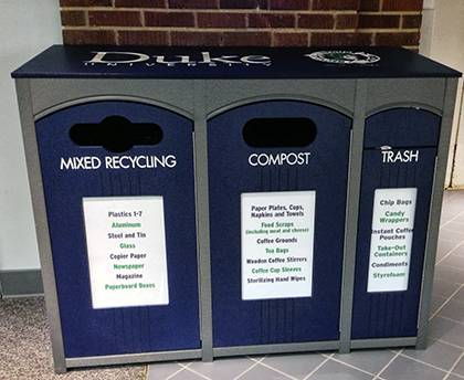 Single-stream recycling stations like this one have started popping up around campus to encourage smarter waste management by students and employees. Photo by Bryan Roth.