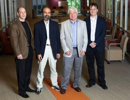 Trinity teaching award winners Michael Valdez Moses, Mohamed Noor, Michael Ferejohn and Laurent Dubois.  Photo by Megan Morr.