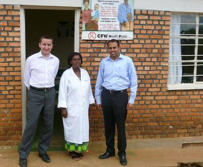 Richard Bartlett, left, and Krishna Udayakumar, right, visited Child & Family Wellness clinics in rural Rwanda in April as part of their work with a new non-profit hosted at Duke, the International Partnership for Innovative Healthcare Delivery.