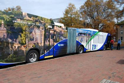 Duke has installed GPS systems into 28 of its buses which will allow riders to track the vehicles in real-time. The program is expected to launch this month. Photo by Bryan Roth.