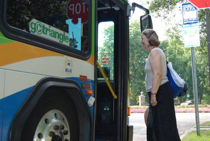 Duke employees using their GoPass have helped increase ridership on Triangle Transit's DRX bus route. The route will now feature two buses. (Photo by Marsha Green)