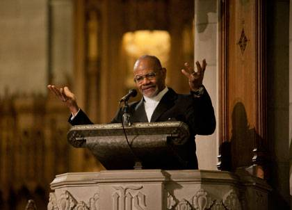 Rev. William Turner challenges Duke and his Duke Chapel audience during the MLK commemoration Sunday.  Photo by Megan Morr/Duke University Photography