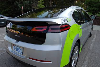 This Chevy Volt is one of four of the electric vehicles on campus as part of WeCar, a car-sharing program at Duke. It's one of many ways students and employees can cut down their carbon footprint. Photo by Bryan Roth.