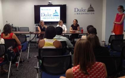 Duke summer interns and recent grads listen to alumni speak about their experiences in Journalism. Photo by Landy Elliott.