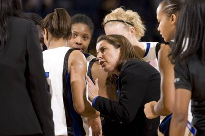 Duke employees can cheer on women's basketball coach Joanne P. McCallie and the Blue Devils this Sunday for just $3 a ticket. Photo by Duke Photography.