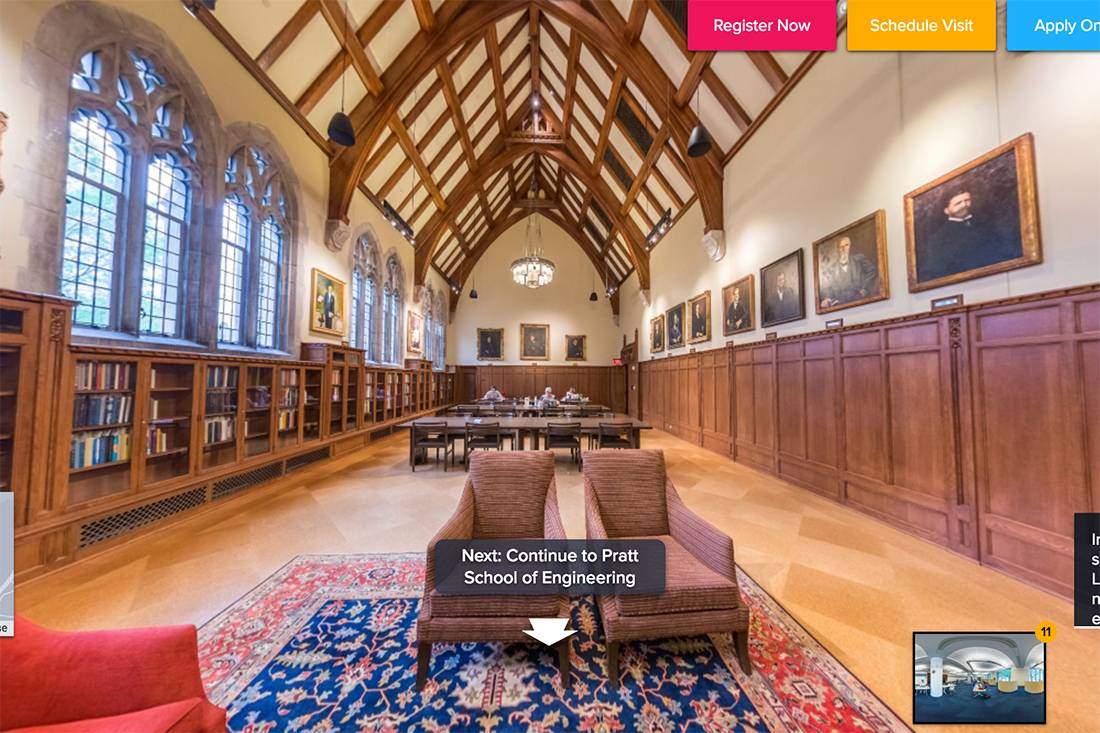 The Duke virtual tour features student guides providing commentary on how the building is used by students.