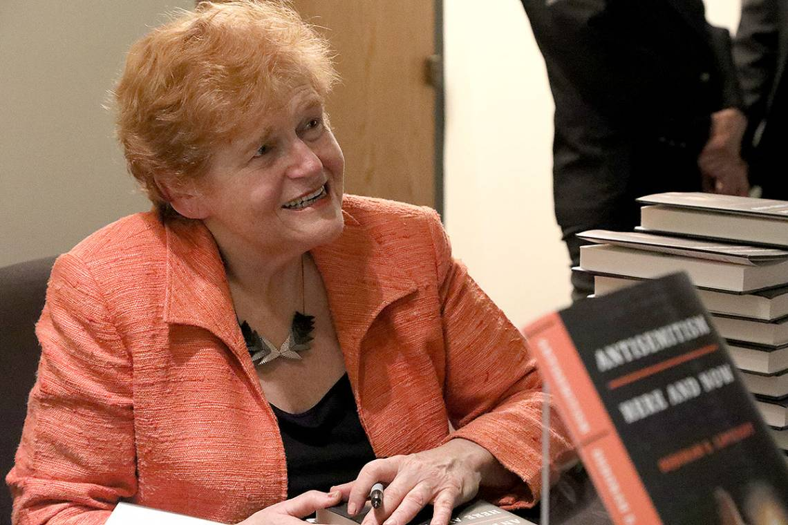 Deborah Lipstadt speaks at a book signing following her talk.