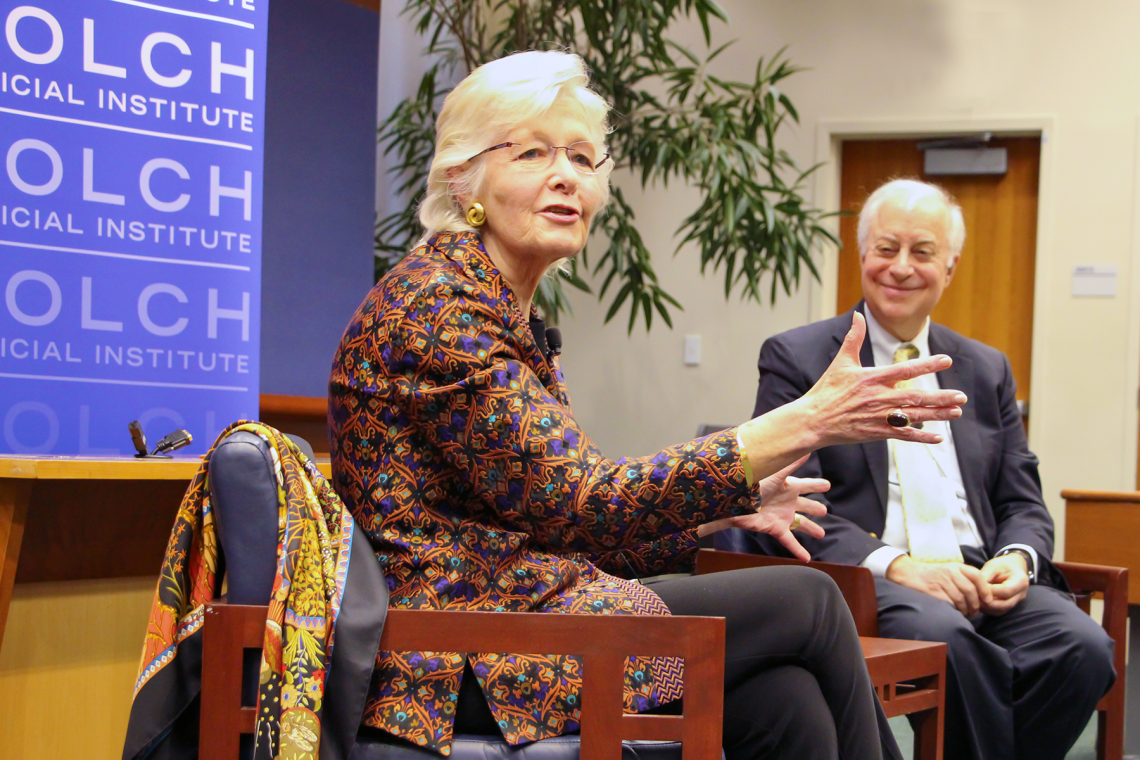 Margaret Marshall speaks with Bolch Judicial Institute director David Levi in a February 2020 event at the institute.
