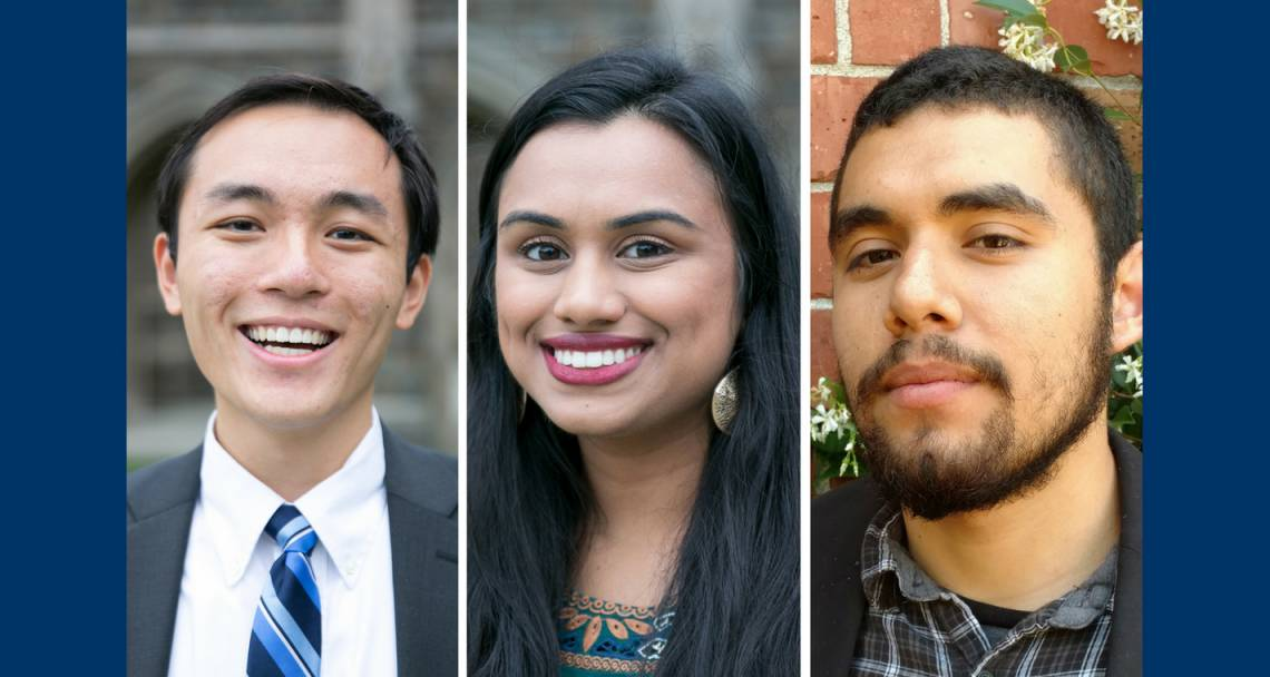 New Marshall Scholars: John Lu, Meghana Vagwala and Antonio Lopez.