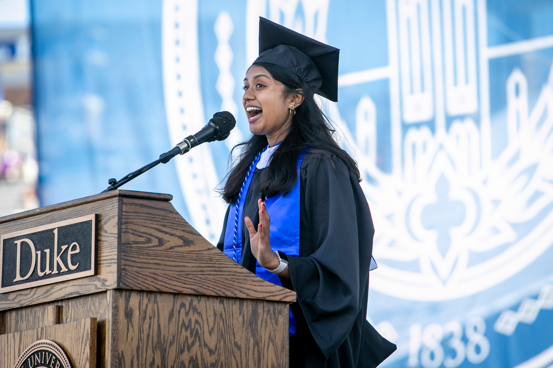 student speaker Meghana Sai Iragavarapu talked about learning character in