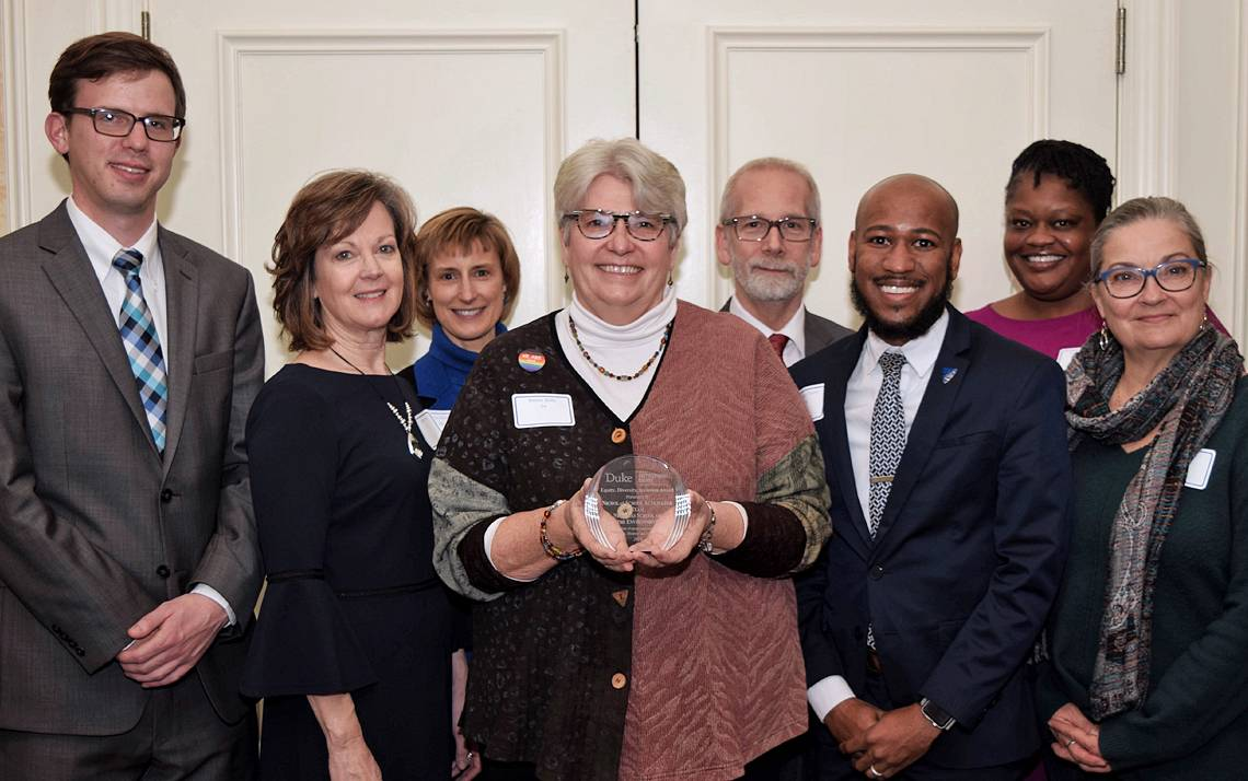 (Left to right) Park Watson, Michele Grow, Charlotte Nunez-Wolff, Nancy Kelly, Dean Urban, Brandon Toney, Erika Lovelace and Donna Sell with the Nicholas School of the Environment. Photo courtesy of Duke University Office for Institutional Equity.
