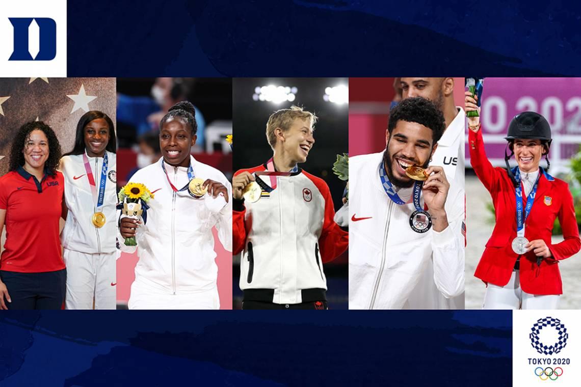 Blue Devil medalists: From top, Kara Lawson, Chelsea Gray, Quinn, Jayson Tatum; and Jessica Springsteen.