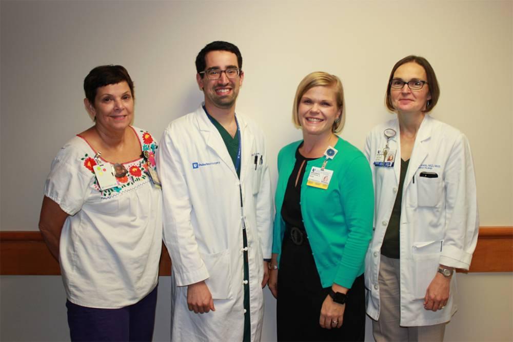 From left: Roberta Caraher, RN, CNIV, CHPPN, Jordan Komisarow, MD, Jennifer Rose, Hope Uronis, MD. Not Pictured: Amy Gregorio)