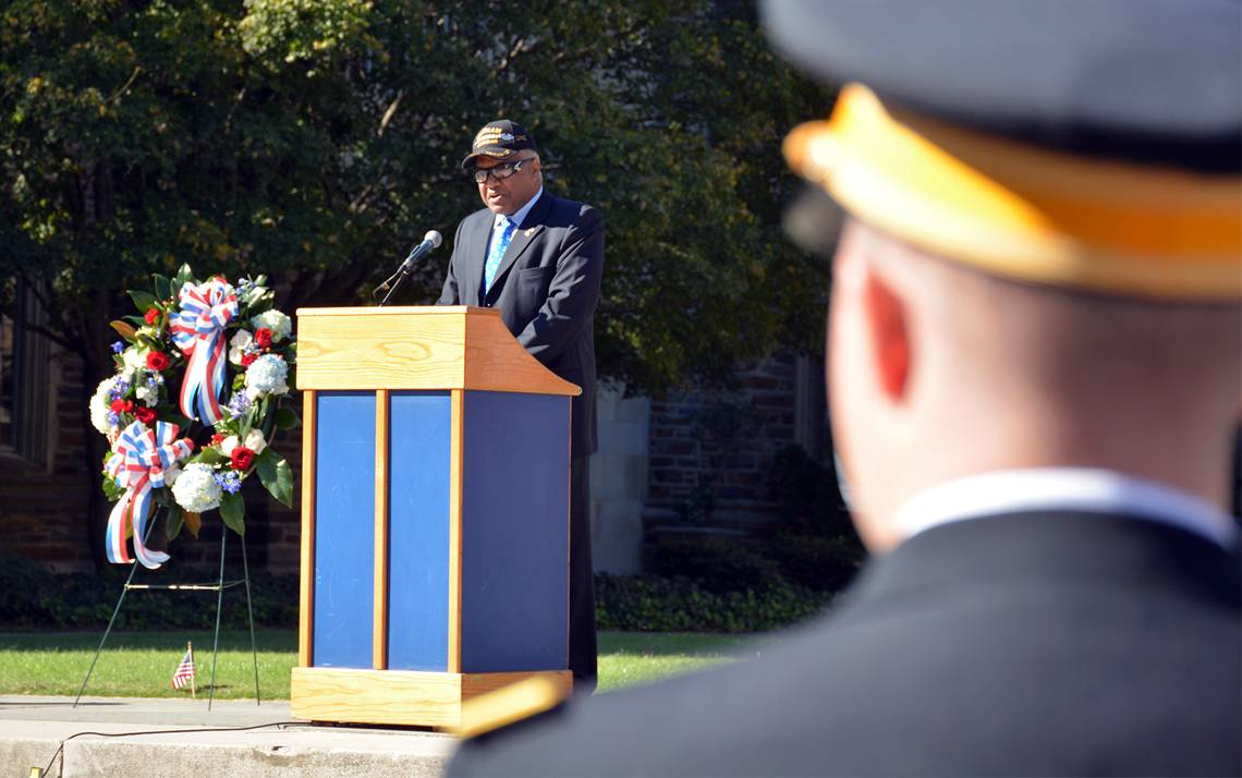 Phail Wynn Jr. addresses the crowd at Duke's Veterans Day ceremony.