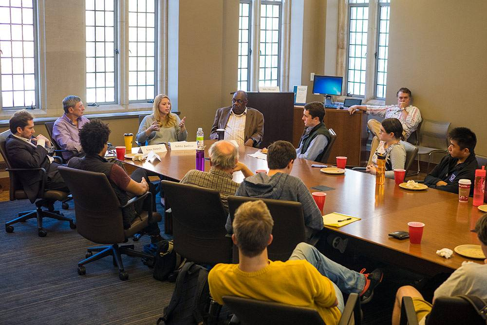 Professor Ashley Jardina speaks to Duke students about the final days of the 2016 election and what to expect afterwards. Photos by Shaun King