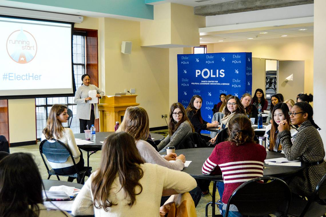 At the POLIS event, Duke female students got a primer in the skills needed to run for political office.